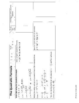 Quadratics Self Assessment