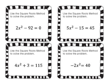 Quadratics Task Cards - (graphing and solve by square roots)
