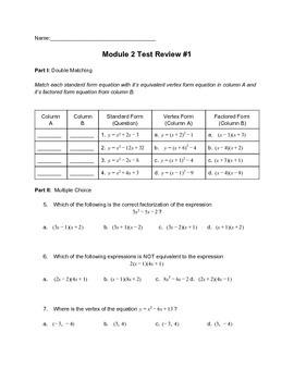 Quadratics Test or Test Review