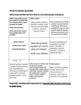 Quadratics Unit Tic-Tac-Toe Review