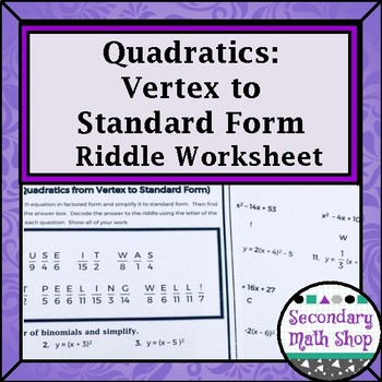 Vertex Form To Standard Form Teaching Resources Teachers Pay Teachers