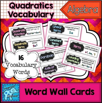 Quadratics Vocabulary Word Wall Cards