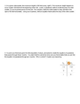 Quadratics Word Problems - Authentic Scenarios