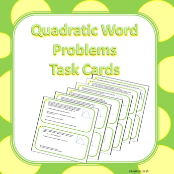 Quadratics Word Problems - Task Cards