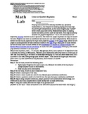 Quadratics and Linear Regression Lab