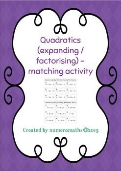 Quadratics (expanding/factorising) - Matching Math Activity