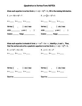 Quadratics in Vertex Form NOTES
