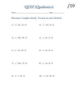 Quadratics quiz (Simple)