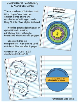 Quadrilateral Attribute Cards and BullsEye Graphic Organizer