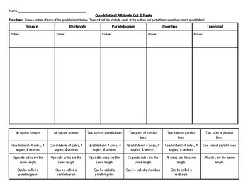 Quadrilateral Sort Worksheet by Fenske in Fifth | TpT