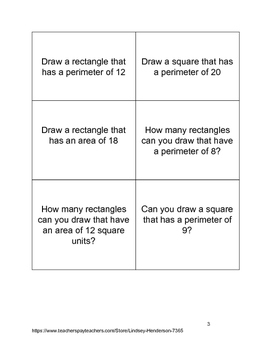 Quadrilateral Challenge Cards