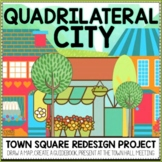 Quadrilateral City Third Grade Geometry Math Project | Print and Digital