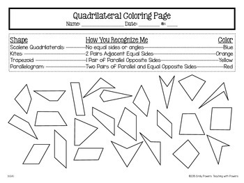 parallelograms coloring pages | Quadrilateral Coloring Page by Teaching with Powers | TpT