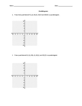 Quadrilateral Coordinate Proofs