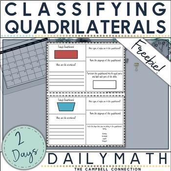 Quadrilaterals Daily Math Freebie!