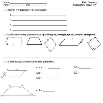 Quadrilateral Family (Notes and Homework)