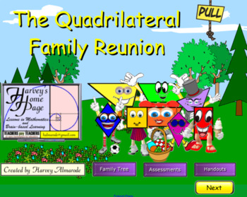 Quadrilateral Family Reunion By Harvey S Home Page Tpt There are 4 major types of quadrilaterals, kites, parallelogram, trapezoids, and then quadrilaterals that do not fit into any of these groups. quadrilateral family reunion by harvey