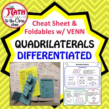Quadrilaterals Foldable with Cheat Sheet and Venn