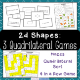 Quadrilateral Centers and Games - Quadrilateral Sort, Mazes, and 4 In a Row Game