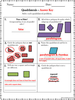 Quadrilaterals Practice Freebie!