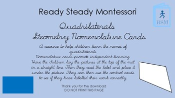 Quadrilateral Geometry nomenclature cards in d'nealian cursive font