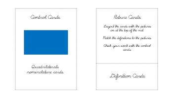 Quadrilateral Geometry nomenclature cards in d'nealian cursive font
