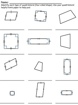 Quadrilateral Helpful Hints and Worksheets