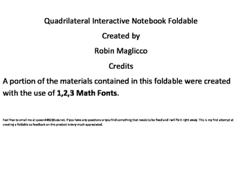 Quadrilateral Interactive Math Notebook Foldable