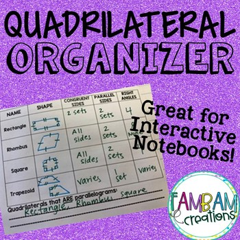 Quadrilateral Organizer - Interactive Notebook
