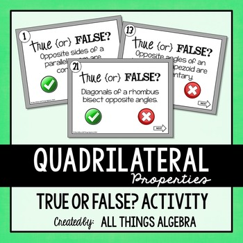 Quadrilateral Properties True or False Activity