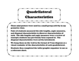 Quadrilateral Properties Discovery Activity and Graphic Organizer