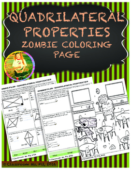 Quadrilateral Properties Zombie Coloring Page By Classroom Ms Fit