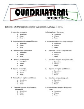 Quadrilateral Properties - guided notes & quiz