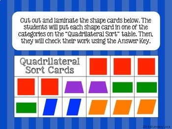 Quadrilateral Sort Geometry Math Center with Answer Key