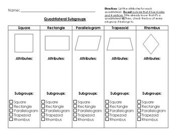 Quadrilateral Sort Worksheet
