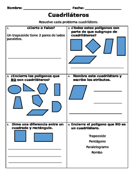 Quadrilateral - Spanish Quiz