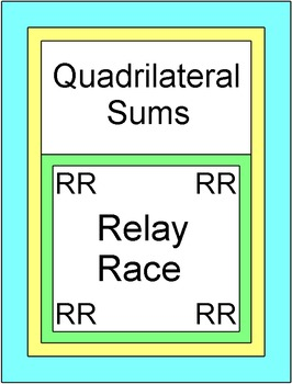 Quadrilateral Sums - RELAY RACE GAME (Groups of 2 or 4) 8 rounds of 4 problems