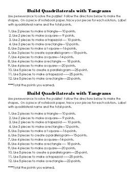 Quadrilateral Tangram Activity