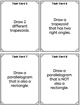 Quadrilateral Task Cards - Properties of Quadrilaterals