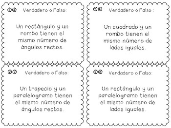 Quadrilateral Task Cards/Tarjetas de Práctica Cuadriláteros