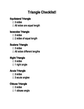 Quadrilateral & Triangle Checklist