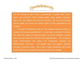 Quadrilaterals Unit: Interactive Notebook and Activities