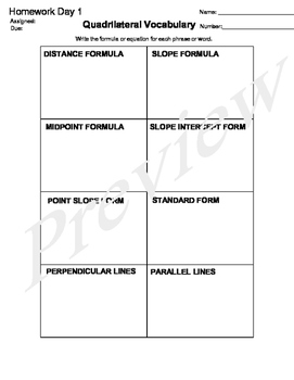 Quadrilateral Vocabulary