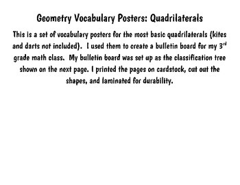 Quadrilateral Vocabulary Posters