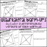 Quadrilateral Warm-Ups/Exit Tickets