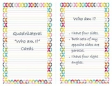 "Quadrilateral 'Who am I?"" Cards"