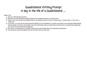 Quadrilateral Writing Prompt