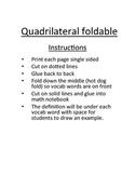 Quadrilateral vocabulary foldable