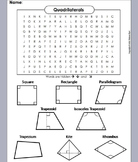 Types of Quadrilaterals Worksheet/ Word Search