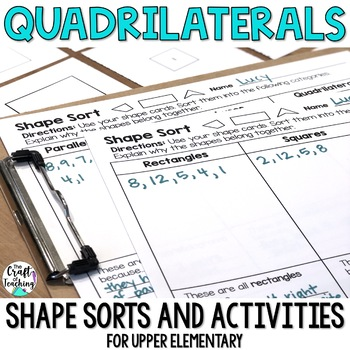 Quadrilaterals 2D Shape Sort with Shape Cards